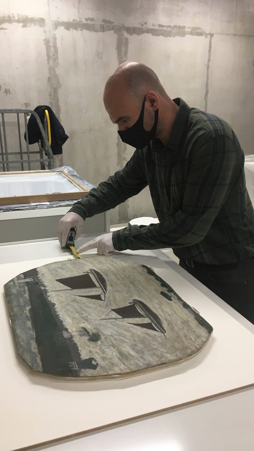 Alfred Wallis painting undergoing conservation