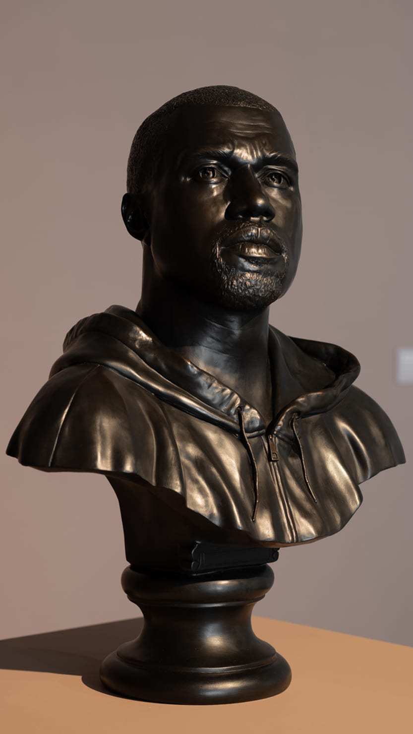 A close up of Kanye, 2015 by Kehinde Wiley on display in Plymouth's Levinsky Gallery, autumn 2020