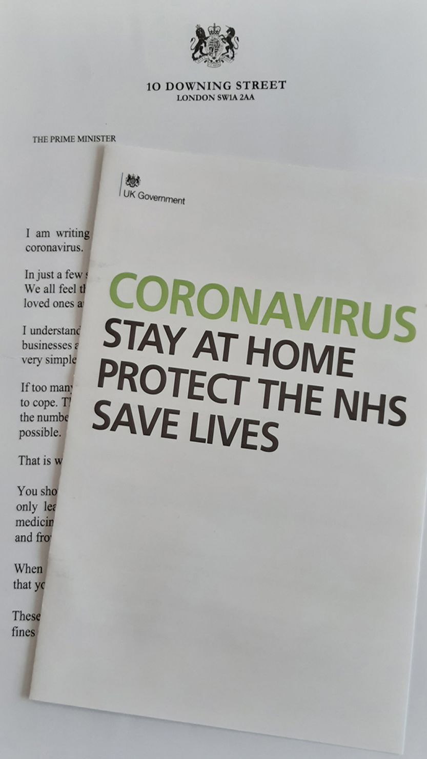 An image of the government-issued Coronavirus letter and leaflet