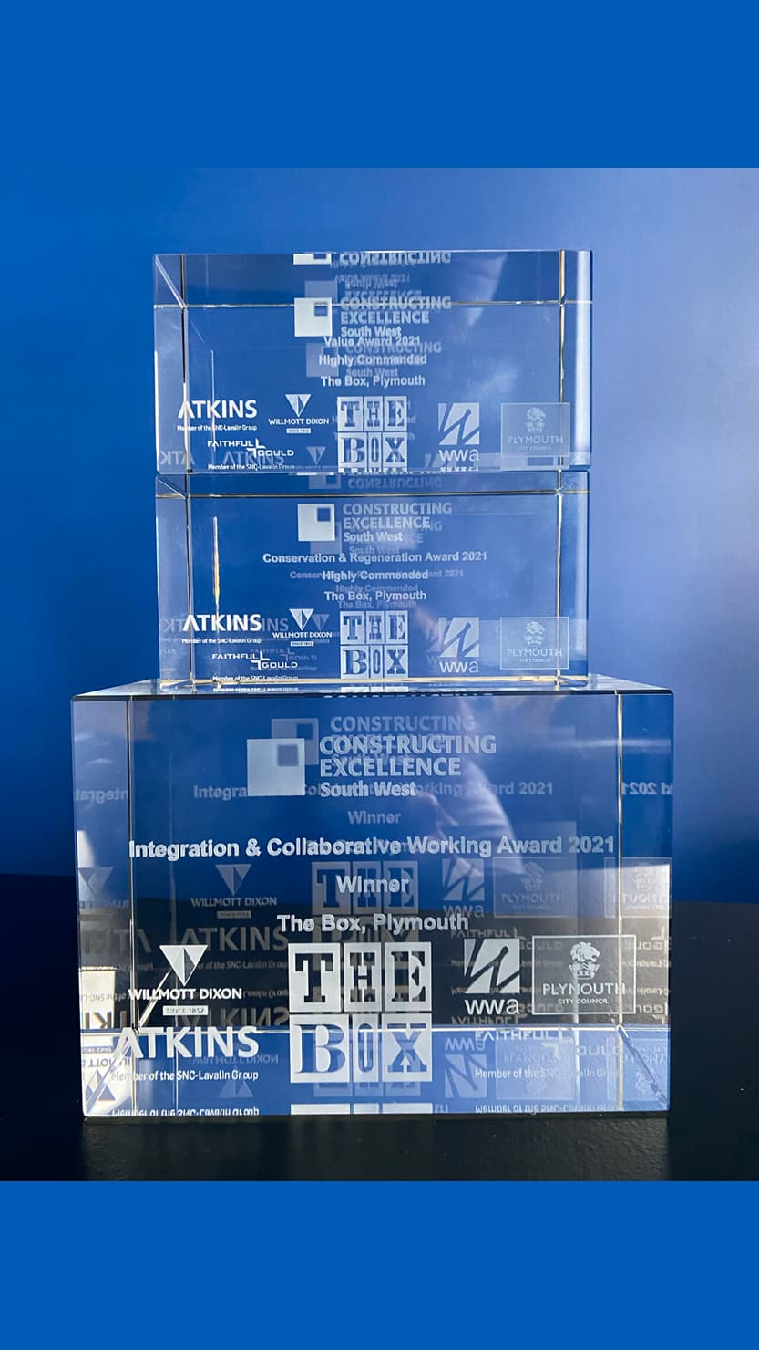 A glass award trophy (The Box's Constructing Excellence South West award)