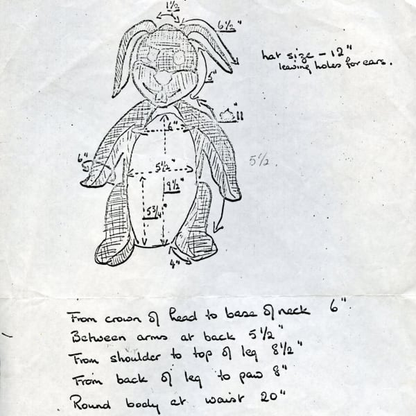 One of the original design drawings for Gus Honeybun