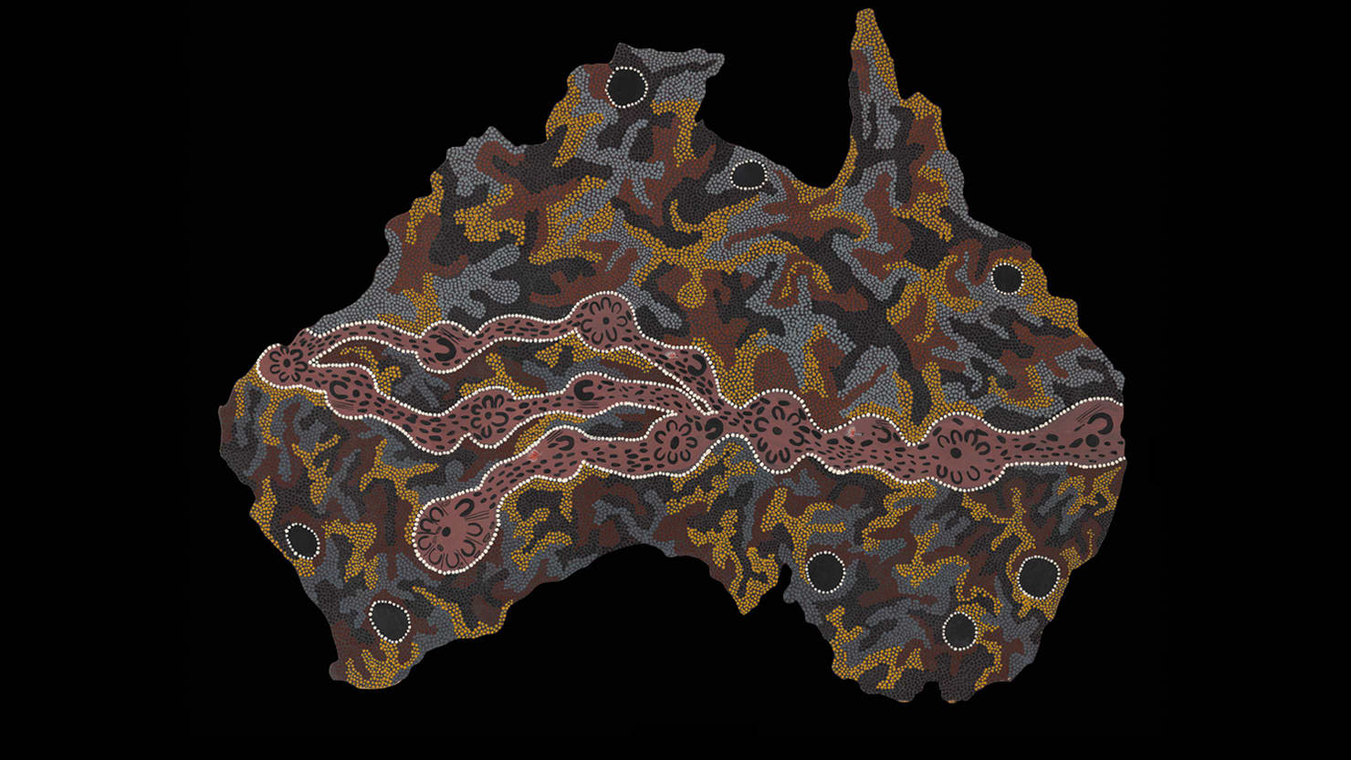 Seven Sisters Songline 1994 by Josephine Mick, Ninuku Arts © the artist/Copyright Agency 2020 Image: National Museum of Australia