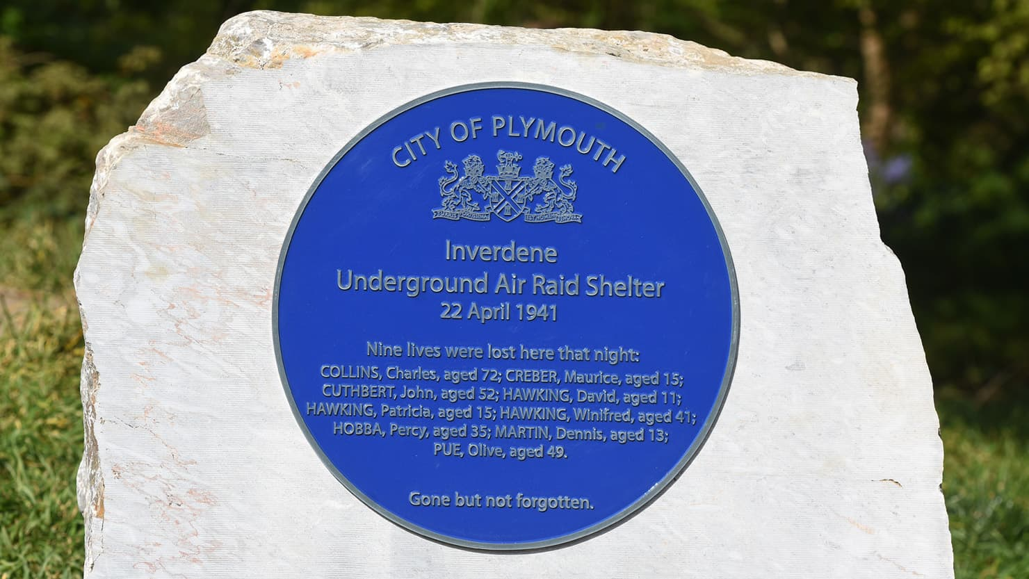 Blue plaque unveiled in honour of Plymouth air raid shelter