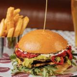 Photo of menu item: Corn Fritter burger!