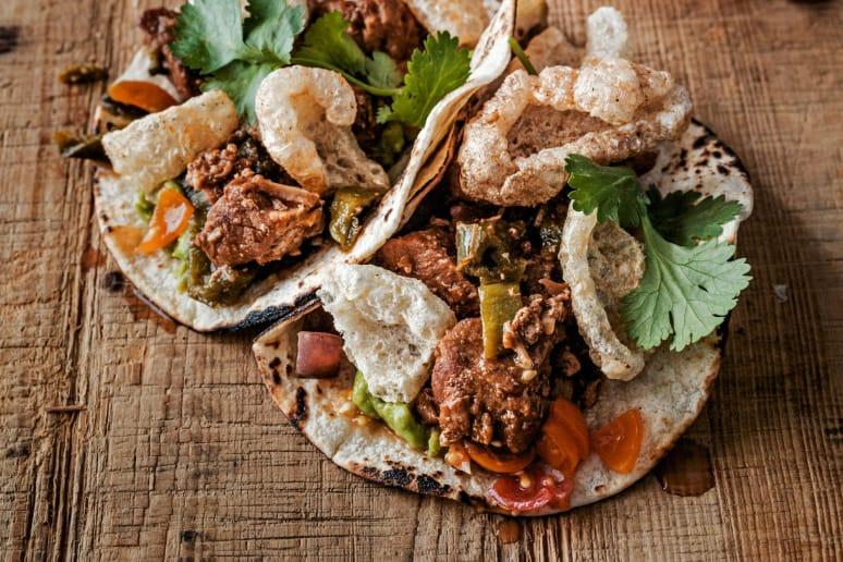 Chili Rubbed Pork Tacos and Chicharrones