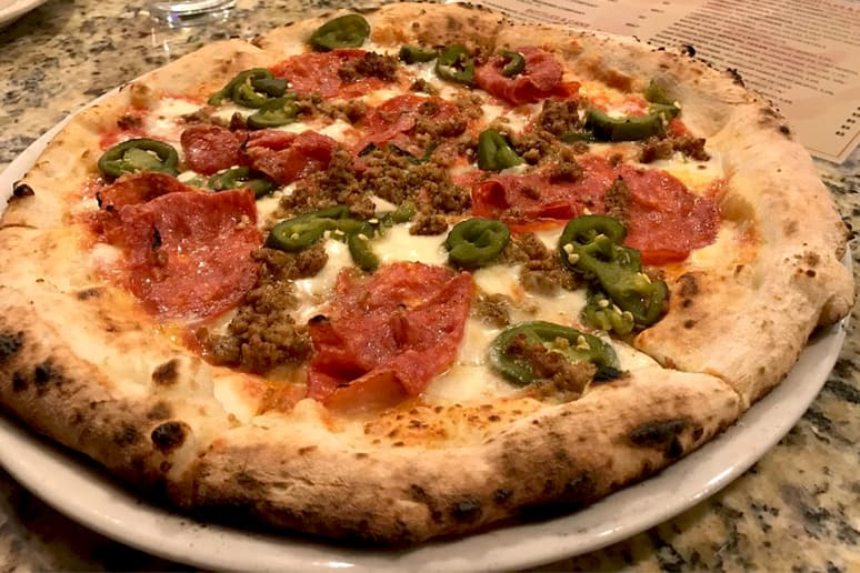 #41 Cane Rosso, Dallas, Texas (Zoli: Local sausage, hot soppressata, hand-crushed San Marzano tomatoes, housemade mozzarella, basil)