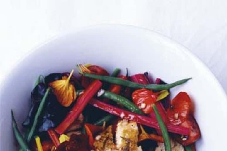 Warm Chicken Salad with Chard