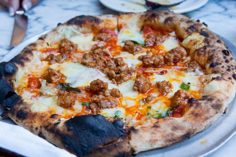 #79 Gjelina, Los Angeles, Calif. (Lamb sausage: Confit tomato, rapini, pecorino, Asiago, no sauce)