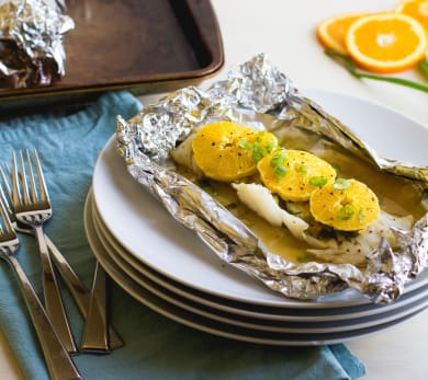 Foil-Baked Cod With Oranges, Scallions, and Ginger