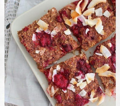 Chai, Raspberry, and Coconut Porridge Slices