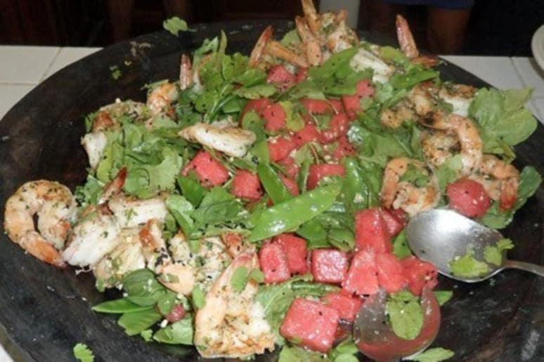 Watermelon and Arugula Grilled Shrimp Salad with Snow Peas