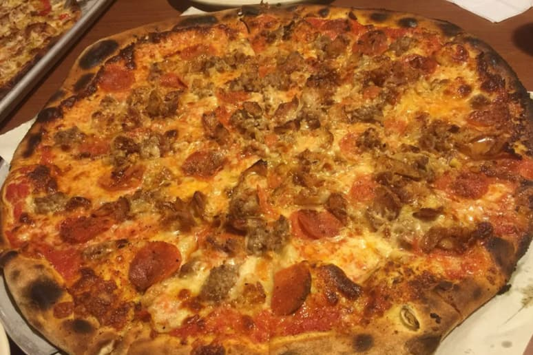 #3 Modern Apizza, New Haven, Conn. (Italian Bomb: Bacon, sausage, pepperoni, garlic, mushroom, onion, pepper, tomato, mozzarella)