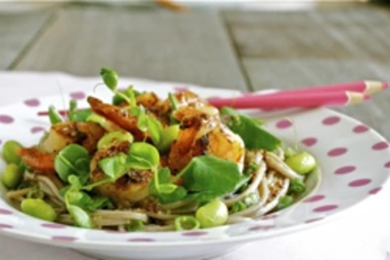Grilled prawns, pea shoots and noodle salad.