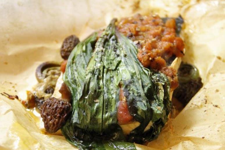 Fish en Papillote with Mushroom Duxelles and Tomato Concassé