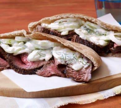 Grilled Steak with Tzatziki Salad