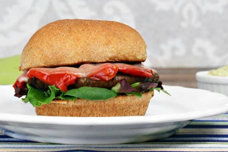 Vegan Portobello and Peach Burger