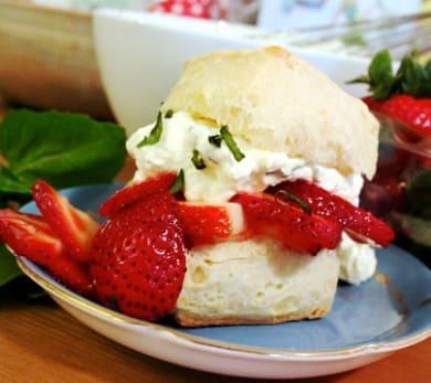 Strawberry Shortcakes with Lemon-Basil Cream Recipe