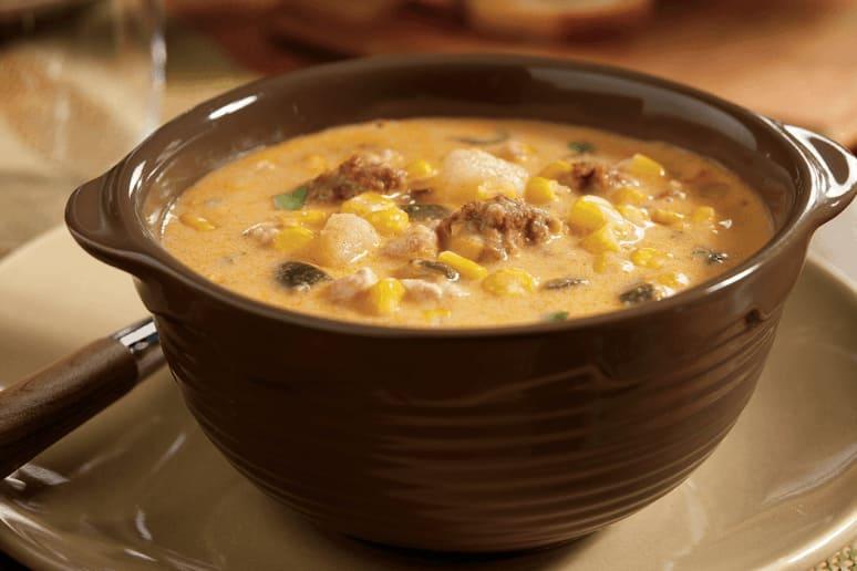 Poblano Corn Chowder With Chicken and Chorizo