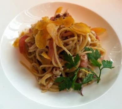 Spaghettini with Baby Calamari, Bottarga, and Lemon Zest