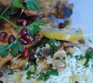 Pomegranate Chicken with Preserved Lemon and Almond Rice Pilaf  Recipe