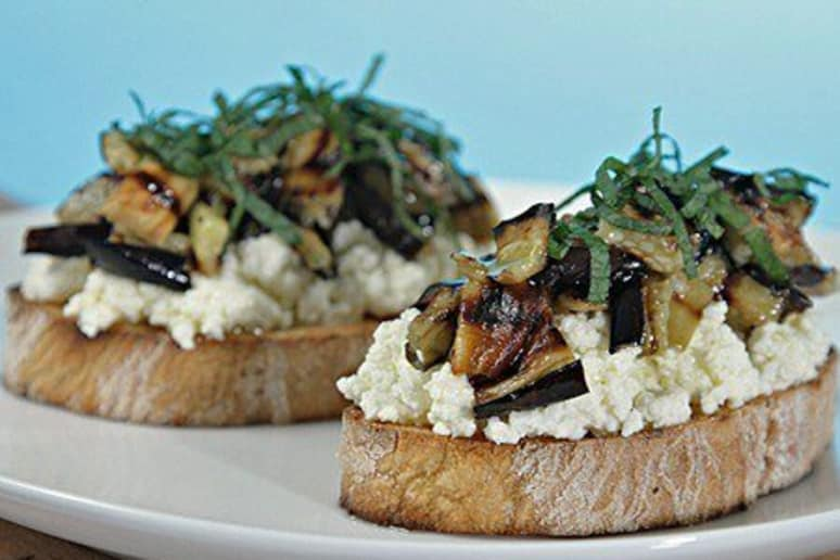 Bruschetta with Ricotta, Grilled Eggplant, and Mint