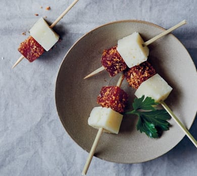 Walnut-Crusted Quince and Manchego Bites