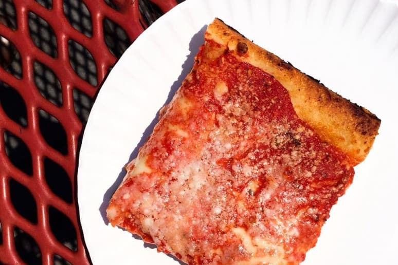 #66 L&B Spumoni Gardens, Brooklyn, N.Y. (Grandma Slice: thin-crust Sicilian pie with mozzarella, tomato sauce)