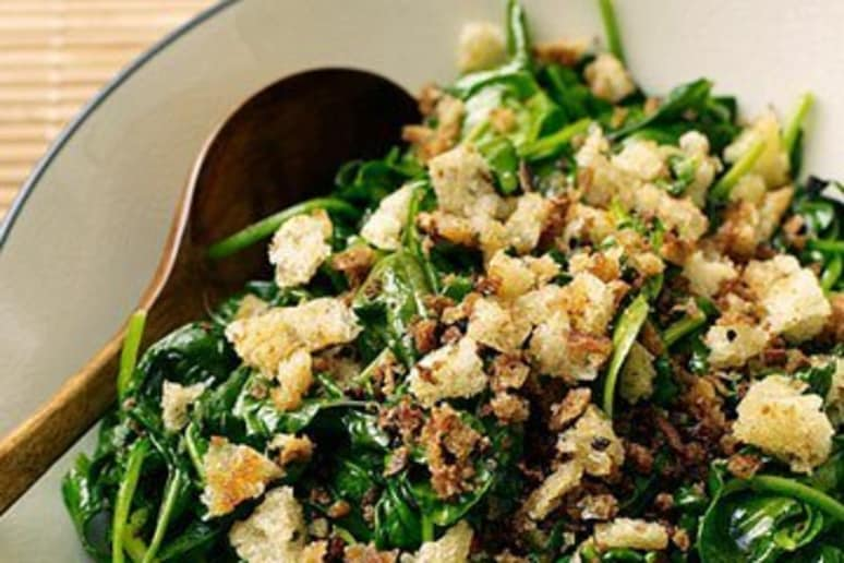 Spinach with Parmesan Breadcrumbs