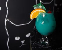 A Blue Hawaiian cocktail from the new Lazer Cat 80s bar in West Hollywood. (Julia Dyman)