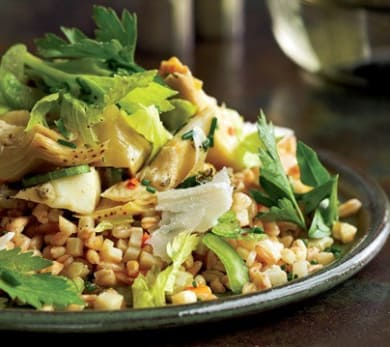 Farro with Artichokes and Herb Salad