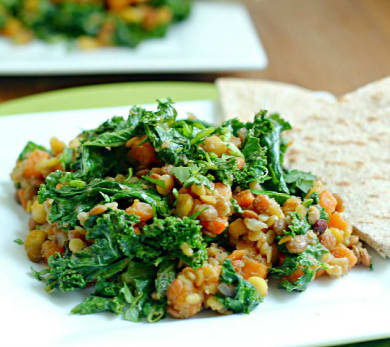 Autumn Lentils with Sweet Potatoes and Kale