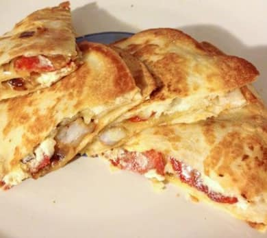 Shrimp, Chorizo, and Goat Cheese Quesadillas