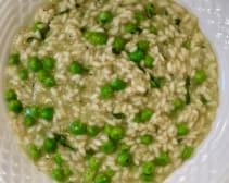 Delcious pea broth risotto