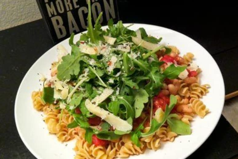 Pasta with White Bean and Tomato Sauce, Arugula, and Parmesan
