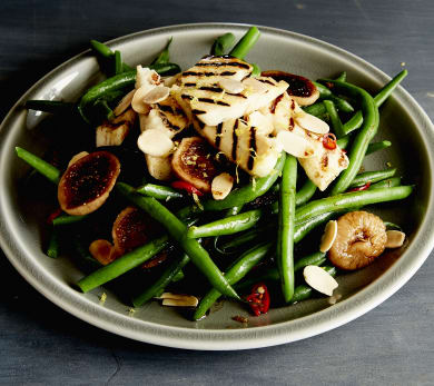 Green Bean Salad with Grilled Haloumi & Rum-Soaked Figs