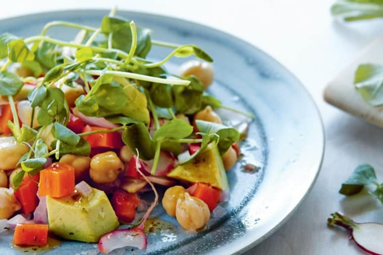 Chickpea, Avocado, and Pea Shoot Salad With Orange Dill Dressing