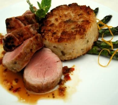 Grilled Pork Tenderloin with Crispy Rice Cake and Asparagus