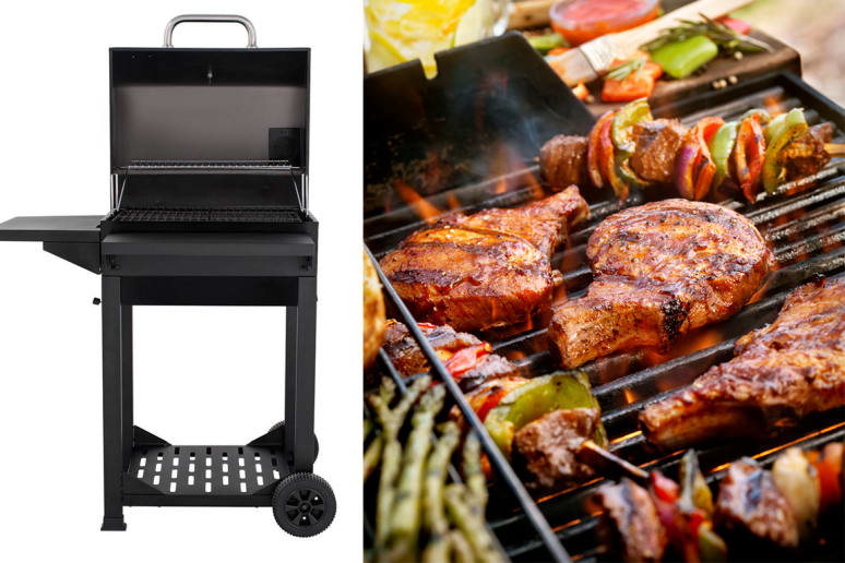 Cart-Style Charcoal Grill in Black With Side Shelf and Foldable Front Shelf, $ 89.00