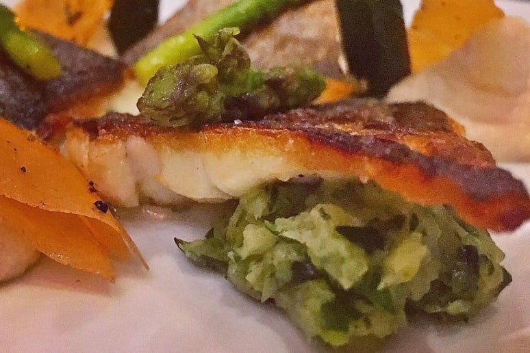 Jacques: Crispy Skin Branzino With Baby Vegetables, and Pea and Parsnip Purée