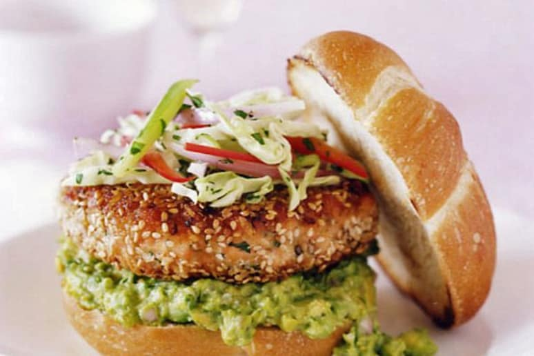 Salmon Burger With Guacamole