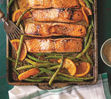Honey-Soy Glazed Salmon With Veggies and Oranges