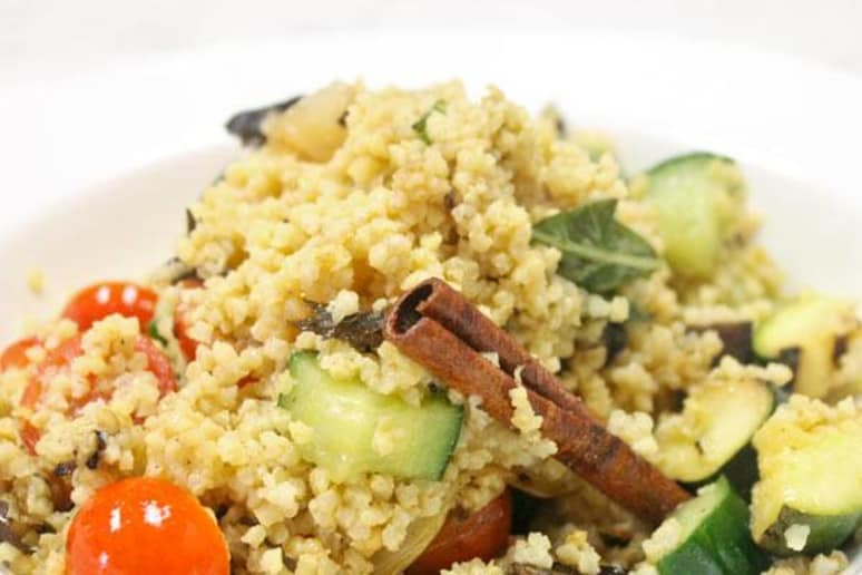 Cinnamon-Scented Millet with Grilled Summer Vegetables