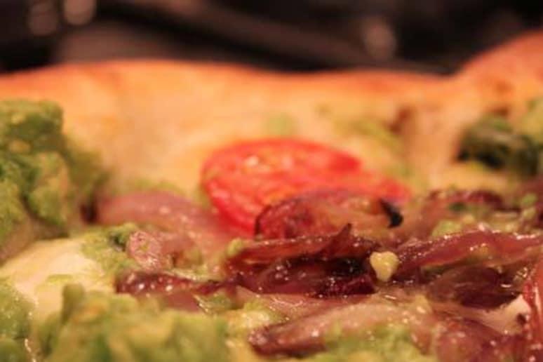 Avocado Pizza with caramelized onions