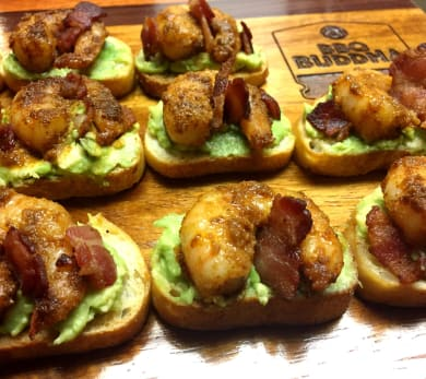 Grilled Shrimp and avocado crostini