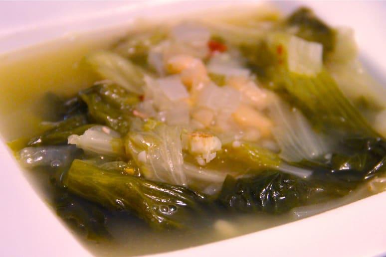 Arthur's escarole and white bean soup.