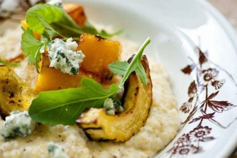 Creamy Grits with Roasted Butternut Squash and Blue Cheese
