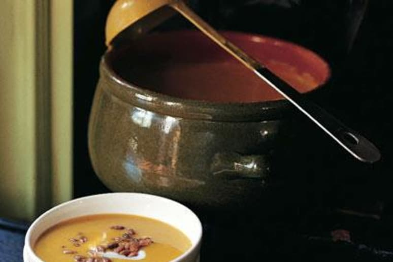 Kabocha Squash and Fennel Soup with Crème Fraîche and Candied Pumpkin Seeds
