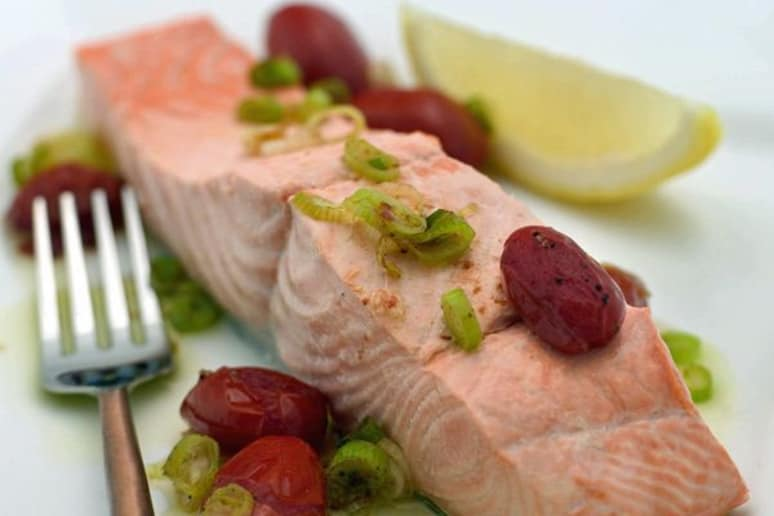Poached Wild Salmon with Skillet Tomatoes