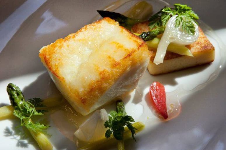 Halibut with Asparagus, Spring Onions, and Lemon Thyme