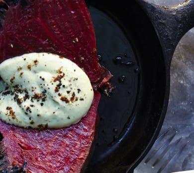 Roasted Beets with Avocado-Habañero Crema